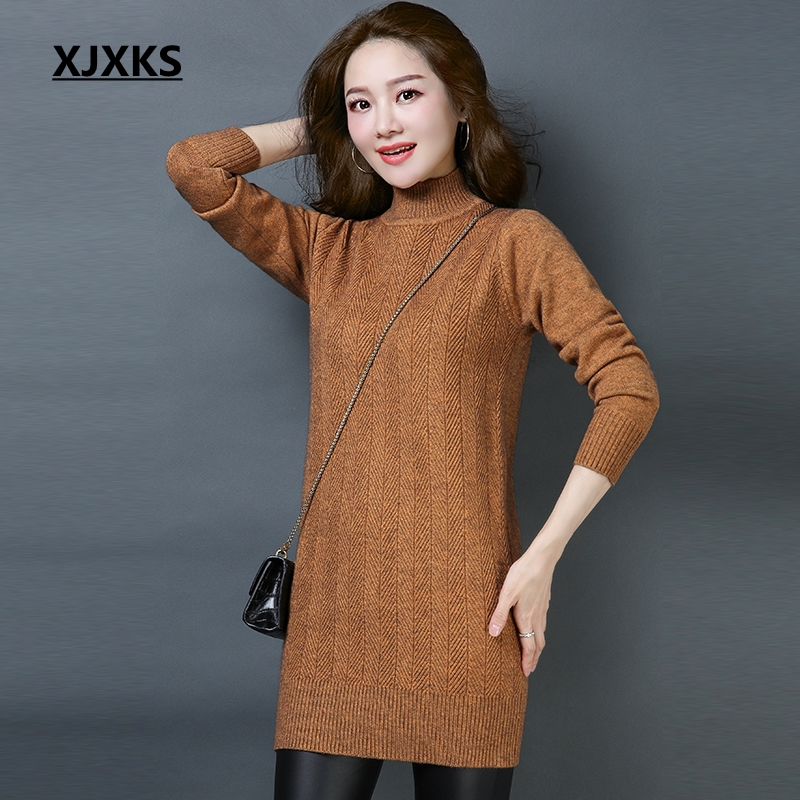 XJXKS Autumn Sweater Women Long Pullover Sueter Mujer Korean Style Elastic Turtleneck Winter Clothes Women Jumpers