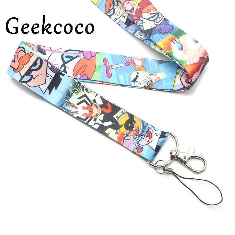 Dexter's Lab cartoon keychains Accessories Safety Breakaway Mobile Phone USB ID Badge Holder Keys Straps Tag Neck lanyard J0230