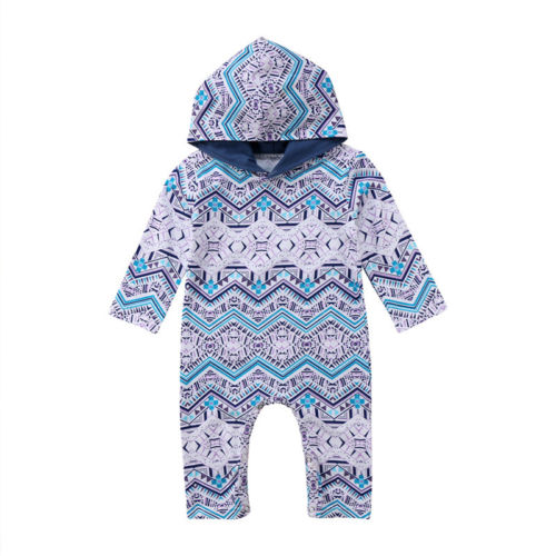2018 Kids Baby Boy Girl Infant Long Sleeve Romper Jumpsuit Geometric Striped Hooded Clothes Sweatshirt Outfit
