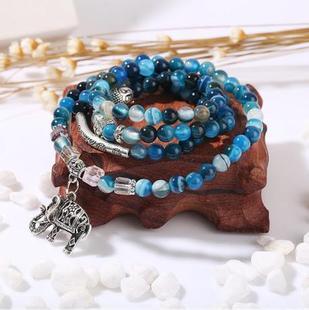 Prix pour Cristal naturel Bleu Exquis Éléphant Pendentif Multi Thai Amulettes Naturel Boule De Pierre Perlée Bracelet pour les Femmes