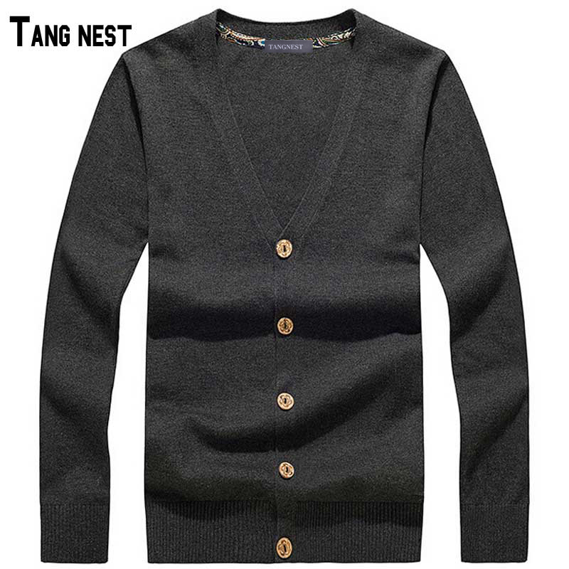 TANGNEST Men Cardigan 2018 New Arrival Mens Casual Solid V-neck Knitted Cardigan Male Si ...