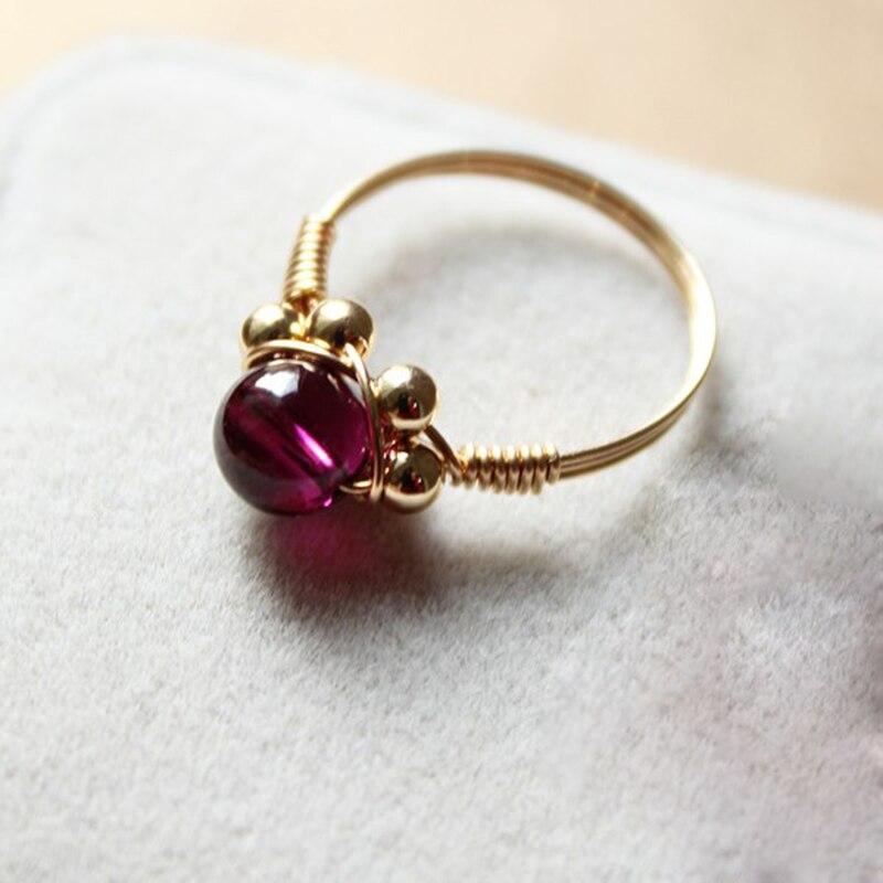 Fait à la main naturel 5A grenat anneaux personnalisé 14 or rempli cadeau d'anniversaire personnalisé Anillos Mujer Bague Femme anneaux pour les femmes - 3