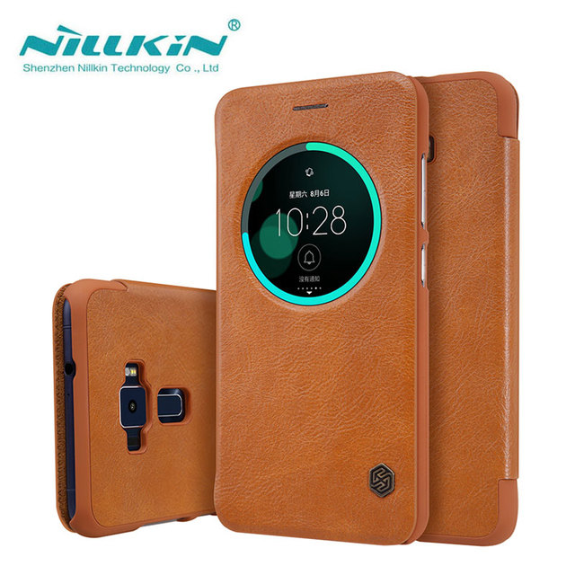 buy online d6e0c d3fc7 US $9.99 |sFor ASUS Zenfone 3 ZE552KL Case Nillkin Qin Series PU Leather  Case Flip Cover For ASUS Zenfone 3 ZE552KL 5.5 inch-in Flip Cases from ...