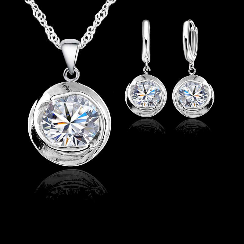 2019 Elegant CZ Crystal 925 Sterling Silver  Round Cubic Zirconia  Stone Pendant Necklace Lever Back Earring Woman Jewelry Sets