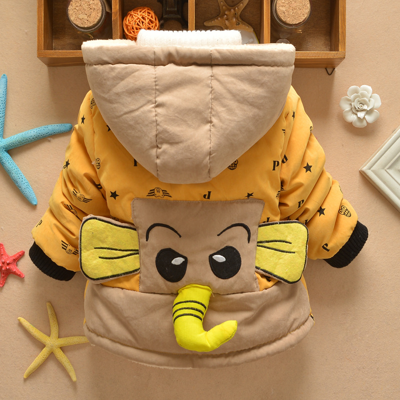 Retail Baby Boys Elephant Winter Coat Children Outerwear Kids Cotton Thick Warm Hoodies Jacket Boys Girls