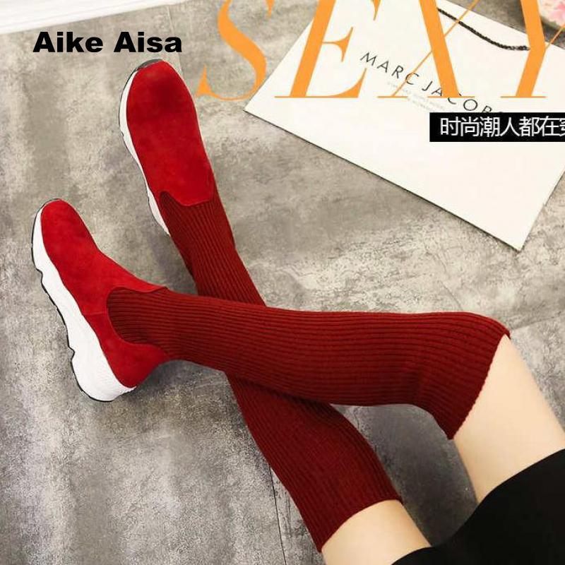 Cálido 2019 red Moda Botas Casual Tacones Altos Rodilla La Invierno De Zapatos Nuevo Nieve Sexy Mujer Rojo Black 5560 Sobre OwnOAxr