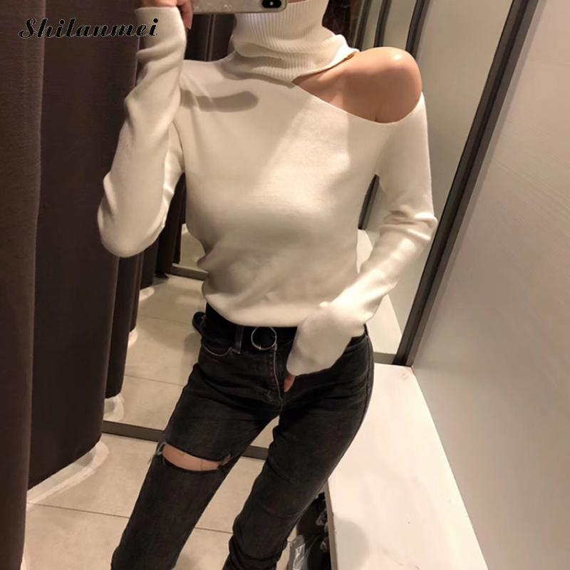 Sexy One Off Shoulder Black White Woman Turtleneck Knitted Sweaters 2018 Casual Autumn Long Sleeve Female Jumper Pullovers Tops thumbnail