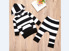 Stripped Baby Boy Girl 2PCS Hoodie Sweatshirt Tops+Pants Kids Clothes Outfit Set