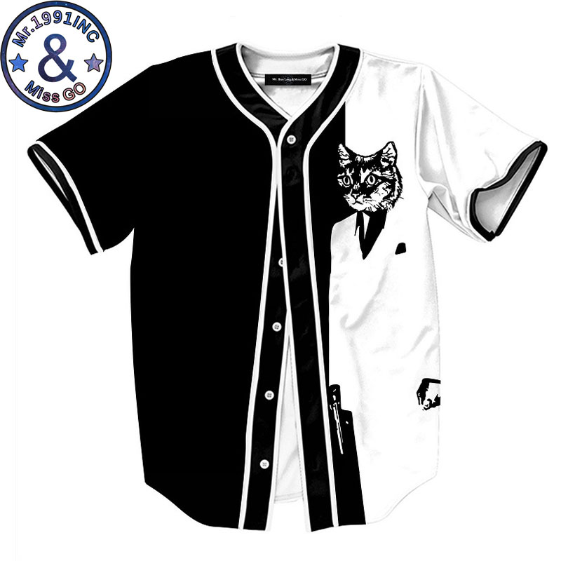Funny 3D Cat Print Baseball Shirt Men 2018 Summer New Slim Fit Short Sleeve Baseball Shirt Men Harajuku Hip Hop Top T Shirt Male