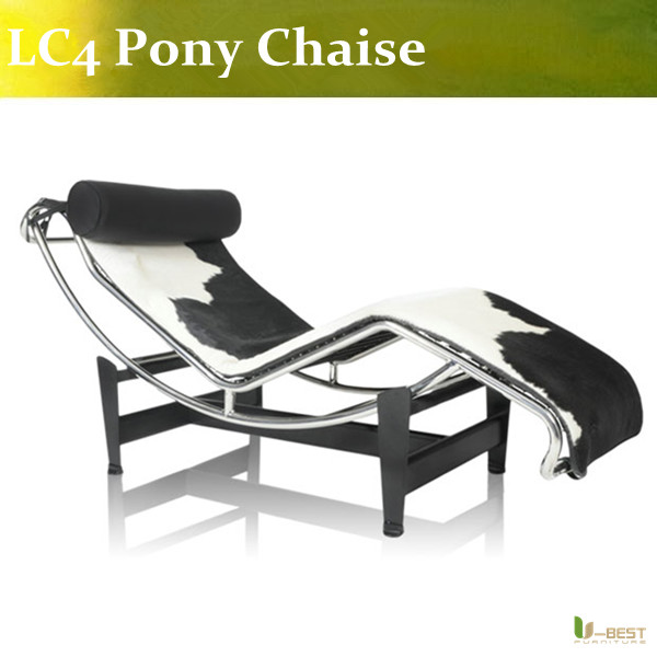 U-BEST high quality Pony LC4 Le Corbusier Chaise lounge ,black and white Cowhide LC4 lounge chair , Leisure LC4 u best high quality ox chaise lounge original ox lounge chair with ottoman ox chair leather ox chair