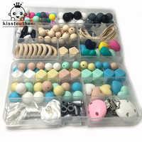 Набор из двух коробок для прорезывания зубов, силиконовые клипсы для прорезывания зубов, геометрические шестиугольные силиконовые шарики ...