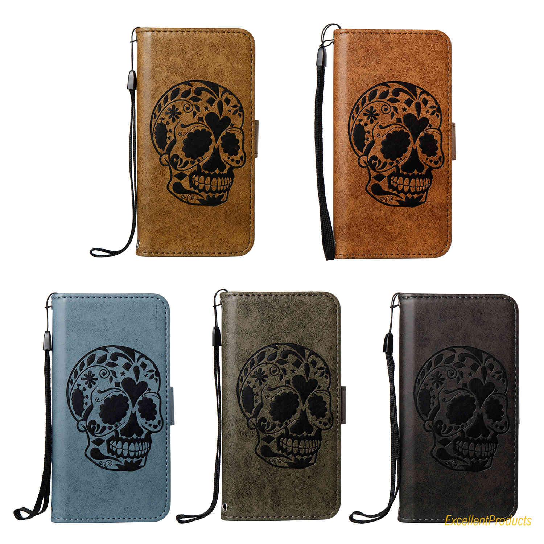 Skull head Leather Flip Cover Case for Samsung S7 flip Wallet tpu phone Case For Samsung S7