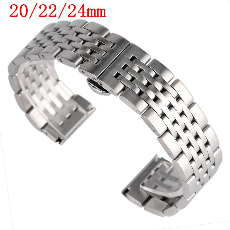 20/22/24mm Stainless Steel Bracelet Men Women Luxury Watch Band Strap Solid Link HQ Silver Watchband Push Button Hidden Clasp паяльник 60w