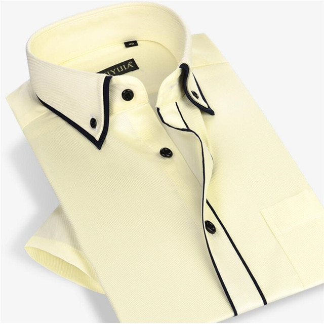 CYIZIYIJIA Brand  men Twill short Sleeve Summer  Business Dress  Shirt  4 Color CYB771-5  S-4XL