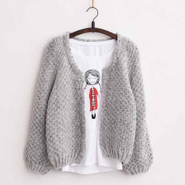 2016 Novas Mulheres Coreano curto Cardigan de Crochê Casaco De Malha De Grandes Dimensões Casuais manga morcego Grosso Outono inverno Cardigan Feminino