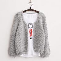 2015 New Women Korean Short Cardigan Crochet Casual Oversized Knitted Coat Bat Sleeve Thick Autumn Winter