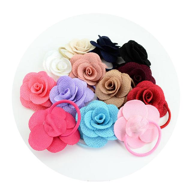 Girls Flower Fabric Hair Accessories Korean Multi-layer Three-dimensional Charming Big Rose Elastic Hair Bands Rubber Hair Ties