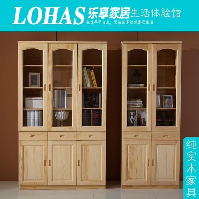 Solid Wood Door Belt Bookcase Bookshelf Glass Pine Desk Combination