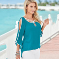 women tops and blouses 2017 new flare sleeve chiffon summer blouse KB1101