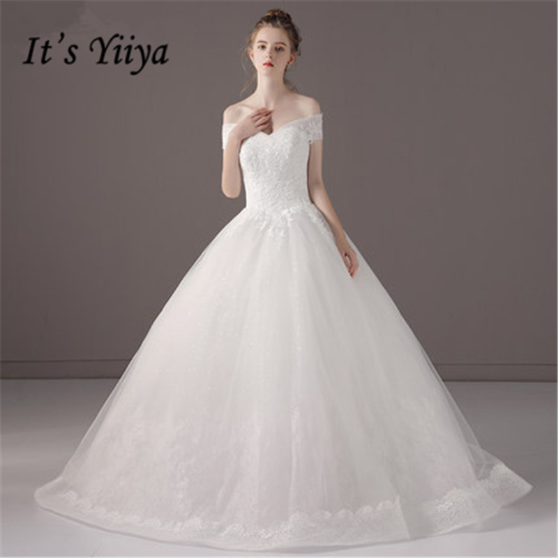Simple Wedding Dresses Boat Neck: It's YiiYa Simple Lace Floor Length Wedding Dresses