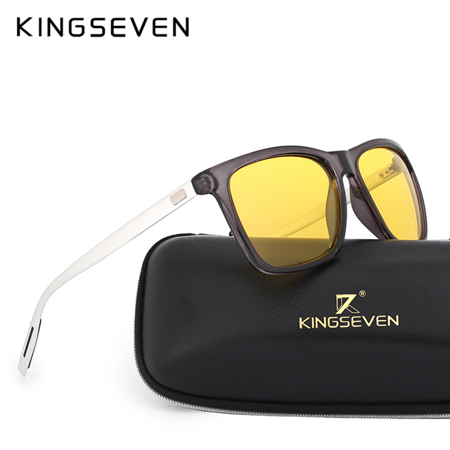 KINGSEVEN Polarized Men Women Night vision Sunglasses Yellow Lens Vintage Square Male Female  Sun Glasses High quality 1