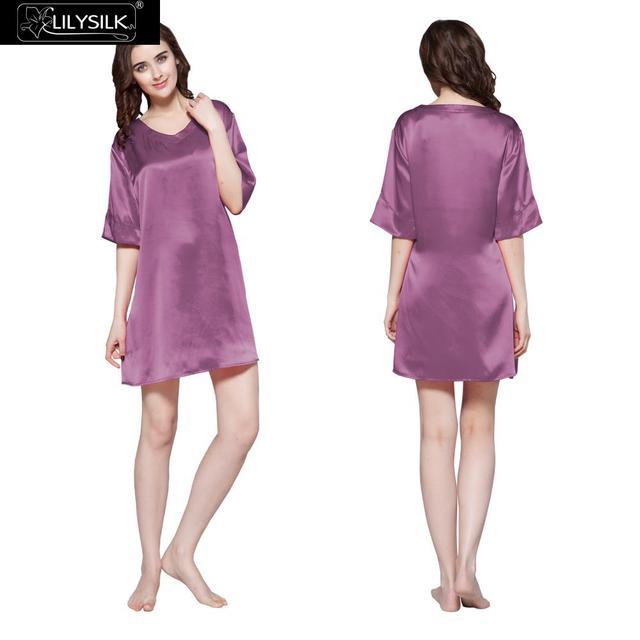 Mulheres Curto 22 Momme Lilysilk 100% Camisola De Seda V Pescoço Puro Luxo Túnica Lingerei a Camisa de Noite Pijamas Para O Verão 2016