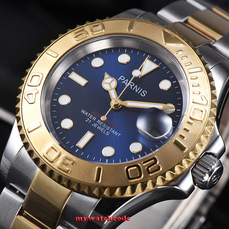 41mm Parnis blue dial Sapphire Ceramic 21 jewels miyota automatic mens watch 982 цена и фото