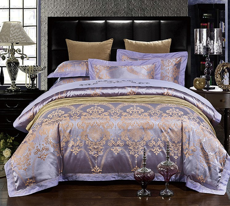 Luxury Purple Bedding Sets Lilac Violet Satin Duvet Cover Set Jacquard Bedspreads Sheets Bed In A Bag Linen King Queen Size 4pcs From Home
