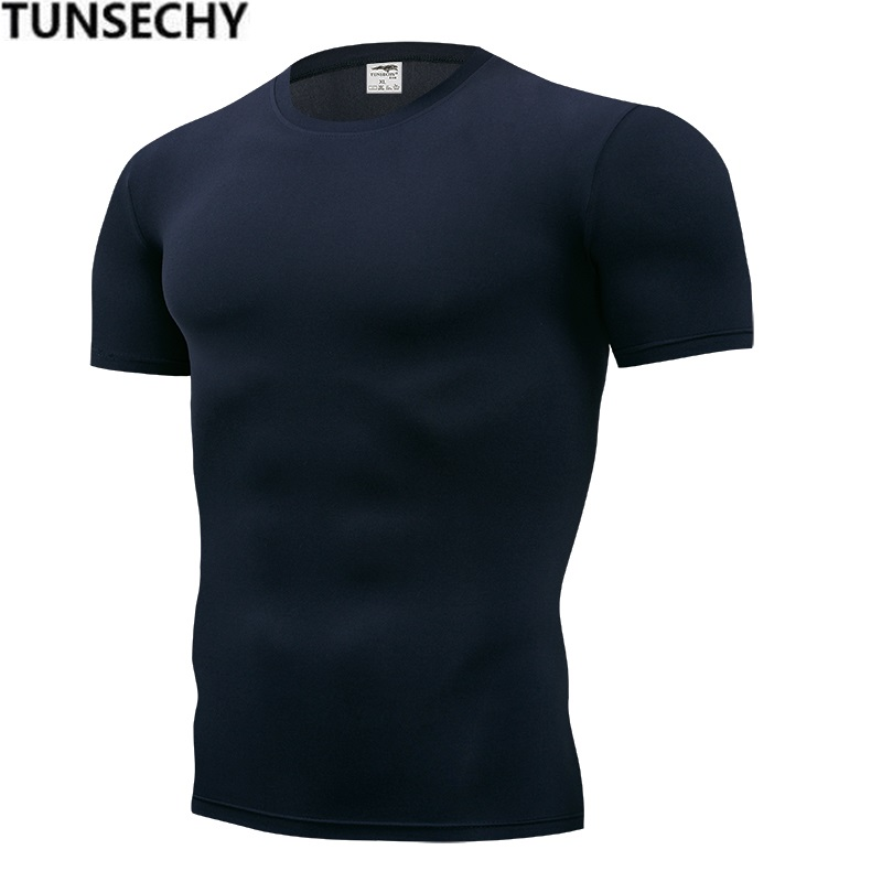 TUNSECHY 2018 Brand Clothing Men's T Shirt Men Fashion Fitness For Male Pure Color T-shirt S-XXXXL Free Transportation