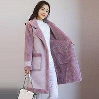 Women Faux Leather Jacket Suede Shearling Coats long Thicken Jacket Artificial Outerwear Fur Warm Wool Coats women suede QH1085