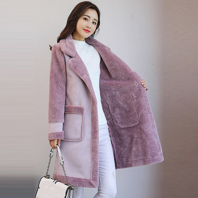 Women Faux   Leather   Jacket   Suede   Shearling Coats long Thicken Jacket Artificial Outerwear Fur Warm Wool Coats women   suede   QH1085