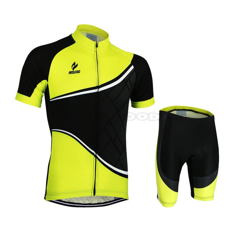 fa7c10c7a ARSUXEO Bike Bicycle Cycling Cycle Clothing Suits Outdoor Wear Sportswear  Men Short Sleeve Jersey + 3D Coolmax Padded Shorts Set-in Cycling Sets from  Sports ...