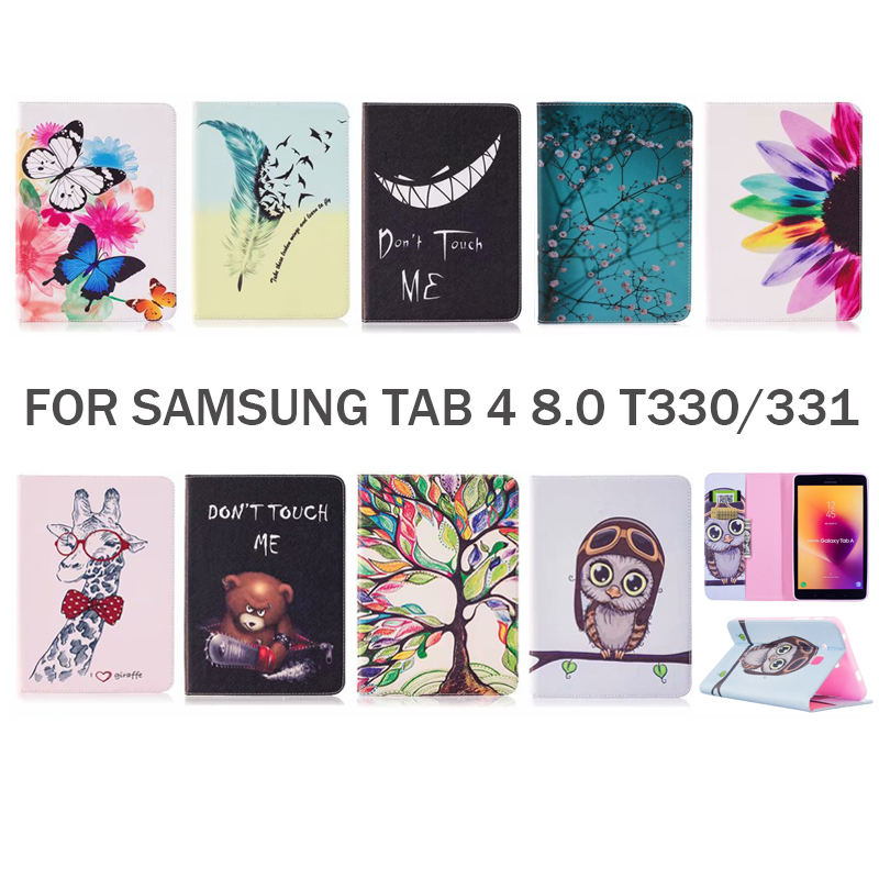 For samsung Galaxy tab 4 8.0 T330 T331 Case Cute Pattern style PU Leather Cover Cases For samsung tab4 Tablet ShellFor samsung Galaxy tab 4 8.0 T330 T331 Case Cute Pattern style PU Leather Cover Cases For samsung tab4 Tablet Shell