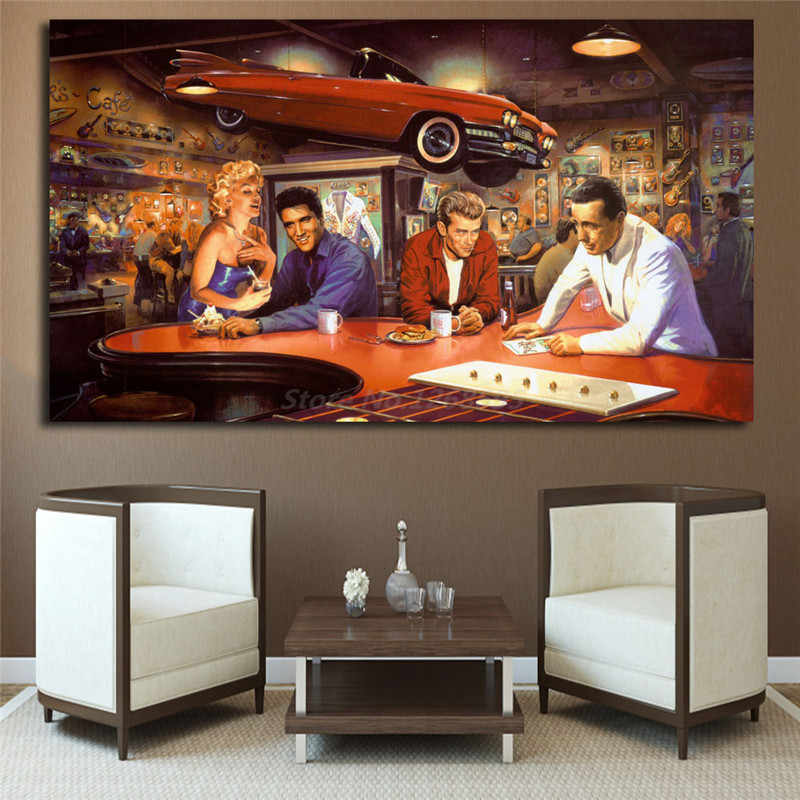 Marilyn Monroe Elvis Presley James Dean Humphrey Bogart HD Art Canvas Poster Painting Wall Picture Print Home Bedroom Decoration