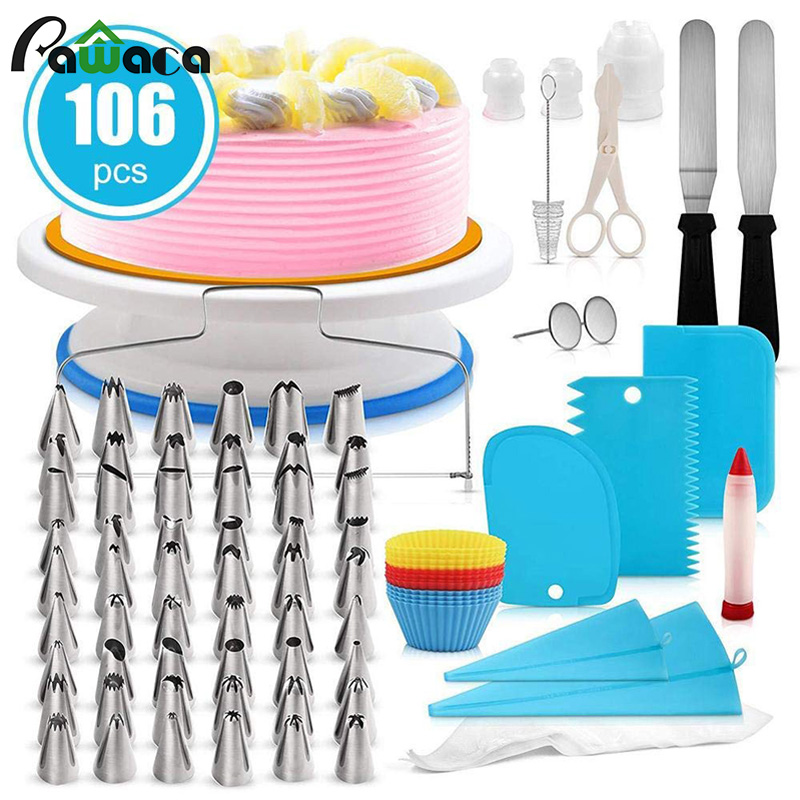 106pcs Cake Decorating Supplies Turntable Stands Cake Tips Icing Smoother Spatula Piping Pastry Bag Decorating Pen Frosting Tool
