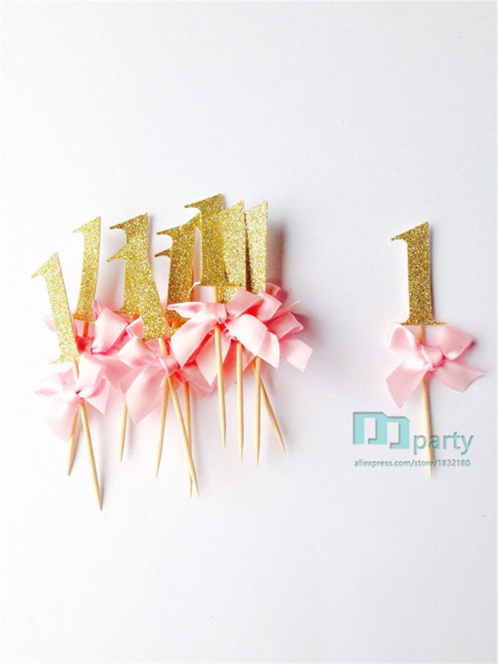 Gold glitter pink number cupcake topper 1st birthday custom