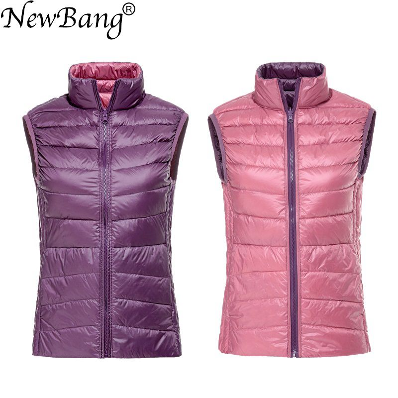 NewBang Women's Warm Vests Ultra Light Down Vest Double Side Sleeveless Jacket Gilet Reversible Gilet Female Waistcoat