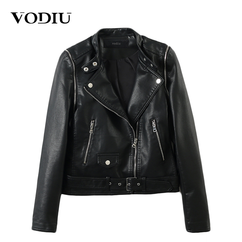 Vodiu Faux   Leather   Coat Women   Leather   Jacket Female Sashes Jackets Autumn Moto Biker Veste 2017 Basic Jackets   Leather   Outerwear