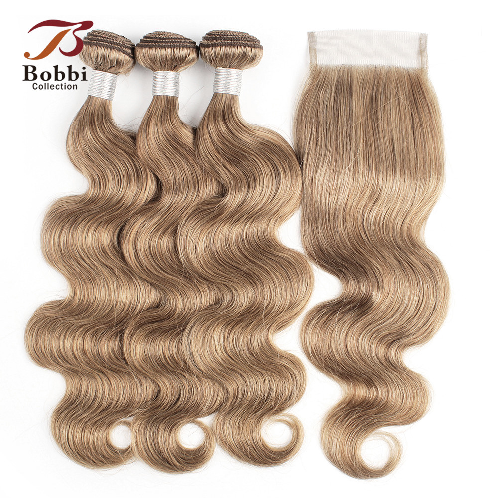 Bobbi Collection Brazilian Body Wave Hair Weave Bundles with Closure Color 8 Ash Blonde Remy Human Hair Long Wavy Style