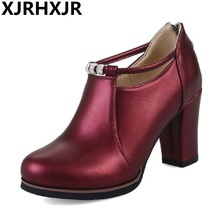 XJRHXJR Size 32-48 Women Pumps Thick High Heels Party Wedding Prom Platform Shoes Woman Fashion Ladies Footwear Black White Wine
