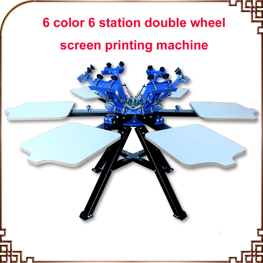 FAST and FREE shipping! 6 Color 6 station Screen Printing Machine Press t-shirt printer equipment carousel new style 468 colors carousel screen printing machine for t shirts