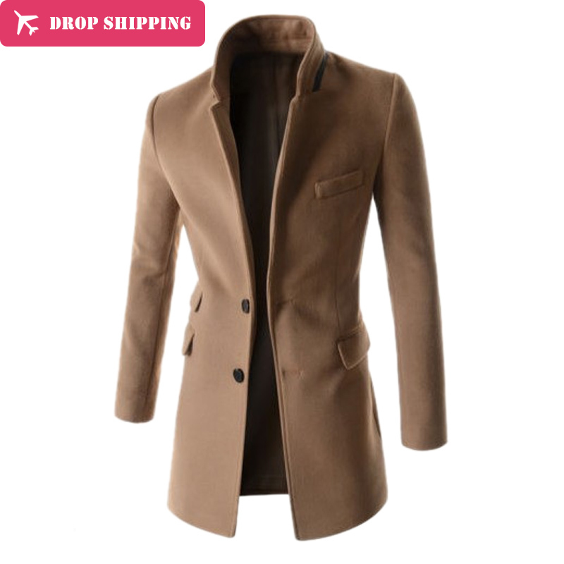 Drop ShippingNew High Quality Mens Overcoat Men Mid Long Slim   Trench   Coat Men Solid   Trench   Slim Fit Business Coat