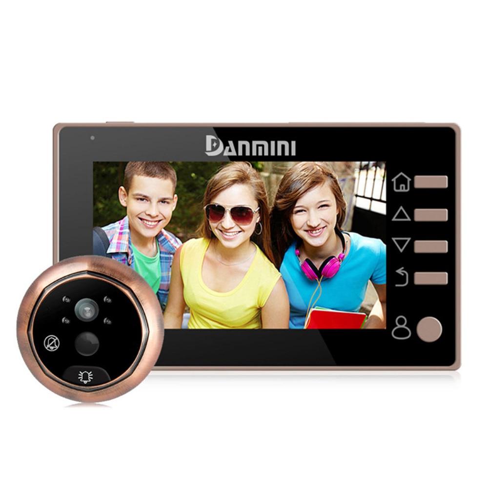 DANMINI 4.3 pouces vidéo sonnette 1MP interphone caméra numérique judas visionneuse caméra de sécurité soutien anglais/russe/espagnol