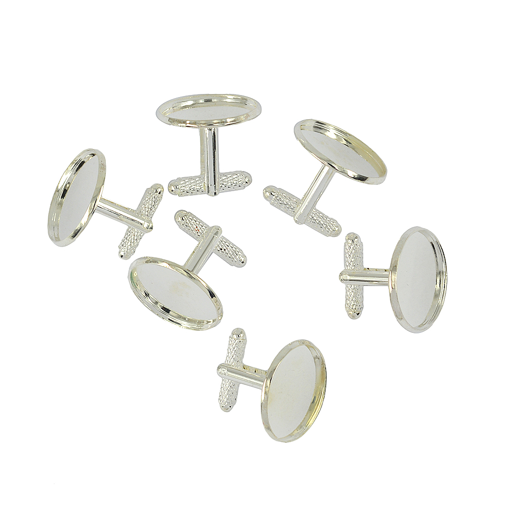 6pcs Lot Silver Plated Cufflink Blanks Backs with 20mm Round Bezel Cabochons Settings DIY Cabchon Plated Rhodium Cufflink Crafts in Tie Clips Cufflinks from Jewelry Accessories