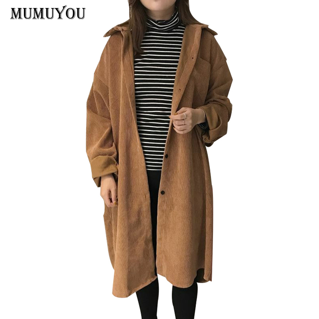 5bb0dde581a Women Corduroy Vintage Long Trench Windbreaker Solid Turn-down Collar Wind Coat  Single Beasted Long