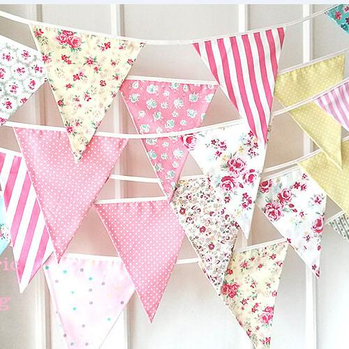 New 21 23M 3 Color Flags Fabric Bunting Personality Wedding