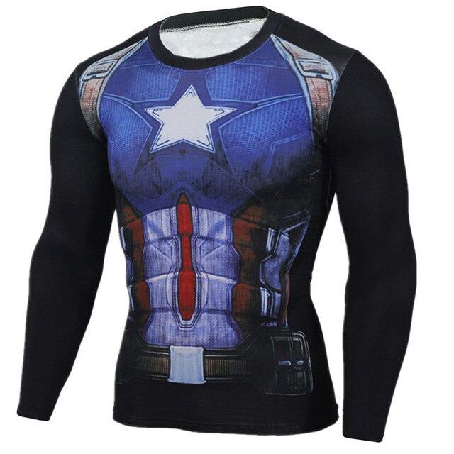 outlet 19063 69b94 US $18.53 |Supreme capitan america maglietta degli uomini 3d iron man  stampato supereroe t shirt camicia di compressione di fitness clothing  maschio ...