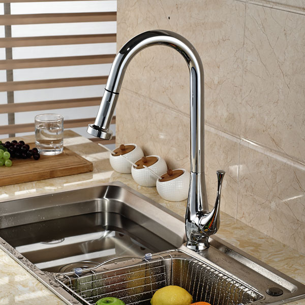 Kitchen Sink Faucet Deck Mount Pull Out Dual Sprayer Nozzle Hot Cold Mixer Water Tap Chrome Brass chrome kitchen sink faucet solid brass spring two spouts deck mount kitchen mixer tap