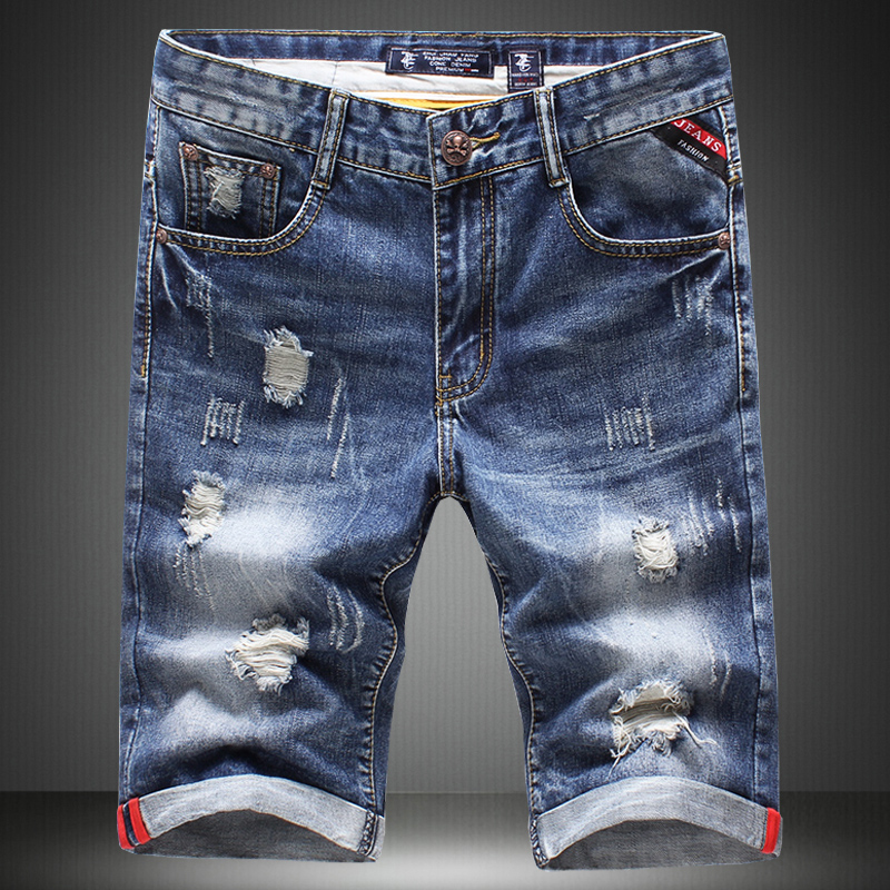 summer 2017 New boutique Men s fashion hole decoration leisure beach jeans shorts breathable Men s