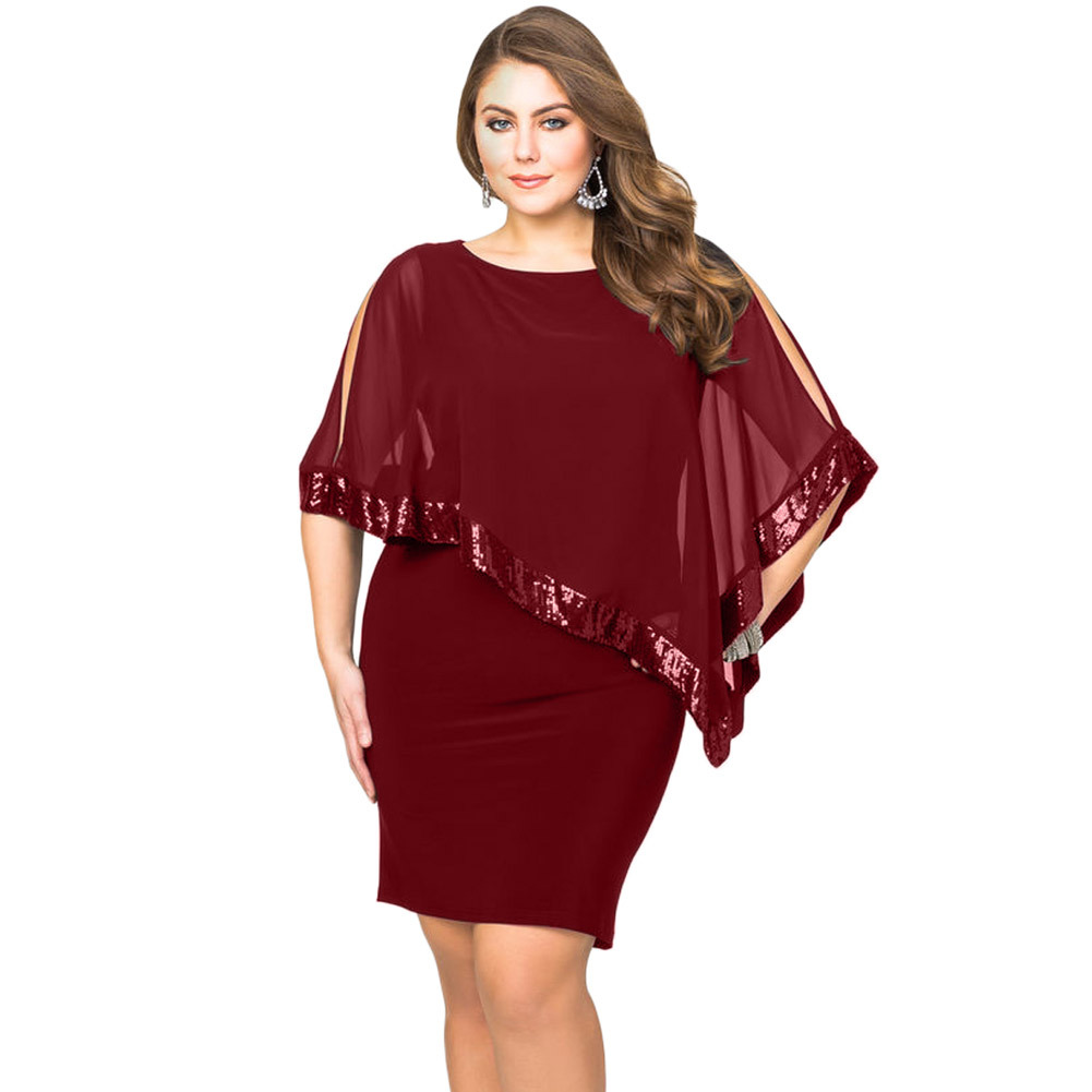 Summer 5XL large size European and American women's dress pure color slim short skirtloose bat